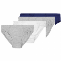 Bonmarché   Mens 4-Pack Plain Pure Cotton Jersey Briefs-Blue-grey-white-grey