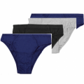 Bonmarché   Mens 4-Pack Plain Pure Cotton Jersey Briefs-blue -grey black