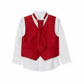 Debenhams  red jacquard waistcoat, shirt and cravat set
