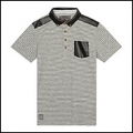 John Rocha designer boys grey striped PU collar polo shirt